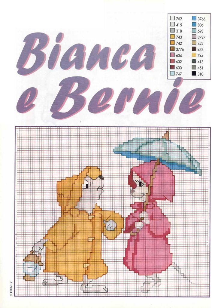 Bianca e Bernie disney baby animali topolini punto croce