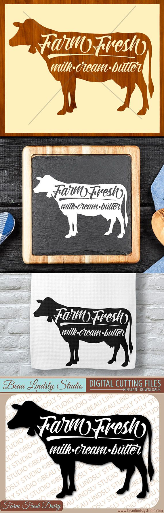 Milk Cow SVG, Country Cow Clipart, Farm Fresh Milk SVG File For Silhouette Pattern, SVG File For Cricut Projects. SVG Format File, DXF File and PNG Image File all included.  This happy design features a Guernsey Dairy Cow with a Farm Fresh Milk, Cream, Butter sign on top. So many fun projects could be made with this country vinyl design from an etched glass cutting board to vinyl or printed wall art to towels and so much more! By: www.beaulindslystudio.com