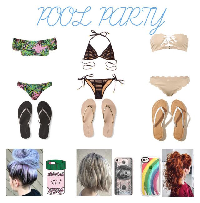 """pool party"" by taylorovery on Polyvore featuring Kendall + Kylie, Beach Bunny, Marysia Swim, Aéropostale, Hollister Co., Casetify and ban.do"
