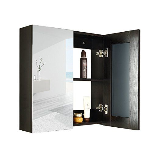 24 Inches Wide Wall Mount Mirrored Bath Medicine Cabinet Storage 2