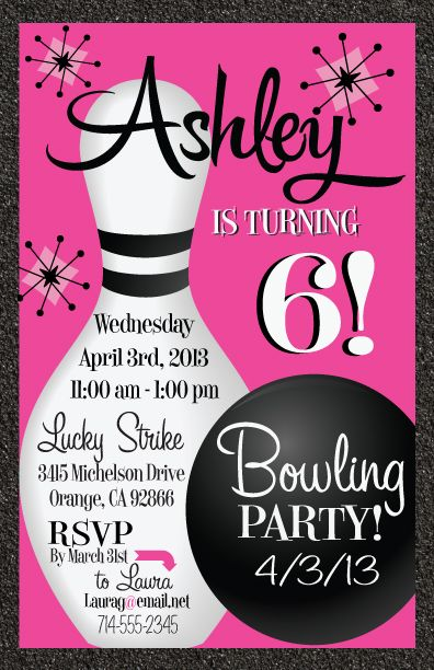 Best Bowling Birthday Invitations Ideas On Pinterest Bowling - Retro birthday invitation template