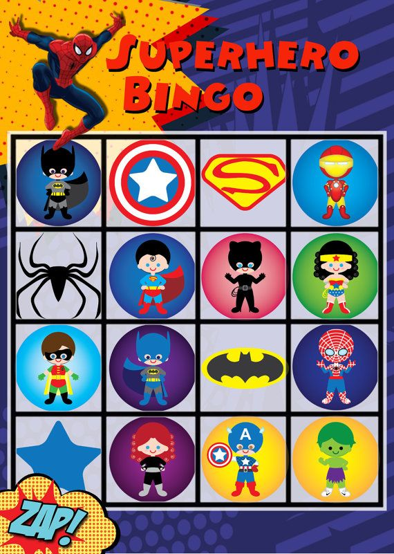 20 Superhero Bingo Cards Printable Instant by cocoandjojosroom