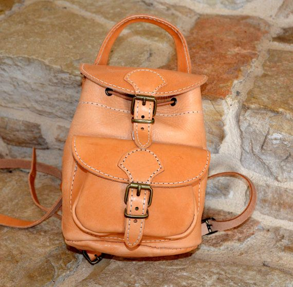 Handmade natural leather mini backpack