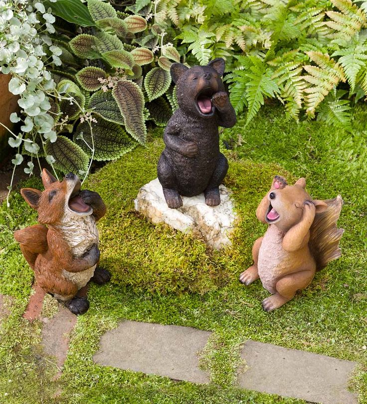 Sleepy Yawning Animal Garden Statues   They Are So Cute With Their  Stretching, Yawning And