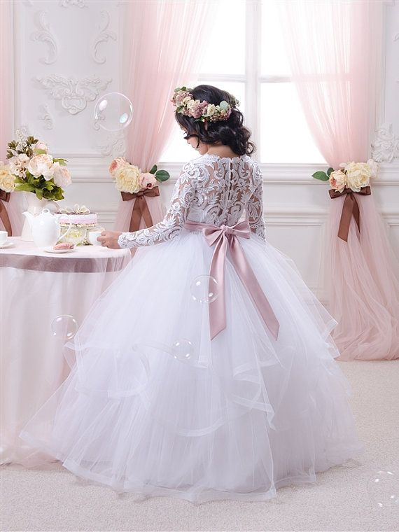 Spitze weiß Blumenmädchen Kleid Geburtstags von Butterflydressua