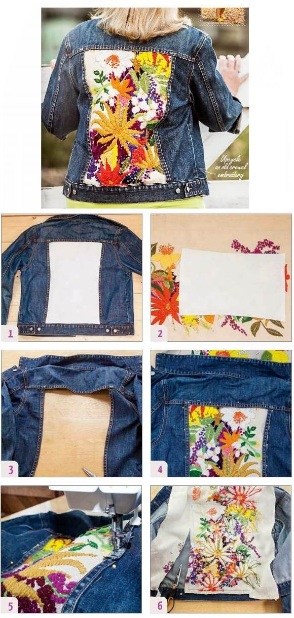 Upcycled Jeansjacket - p.47 I did this with an old painting. I didn't cut out the jacket though. It would definitely be easer, but the back of the embroidery isn't protected this way either. I would at least line the insert.