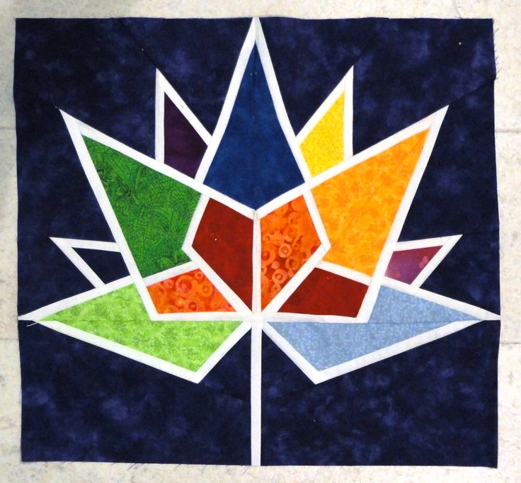 This is from my foundation paper-pieced pattern of the Canada 150 logo. It was created with a copyright license from Heritage Canada and will be on my Etsy site on or before July 24!