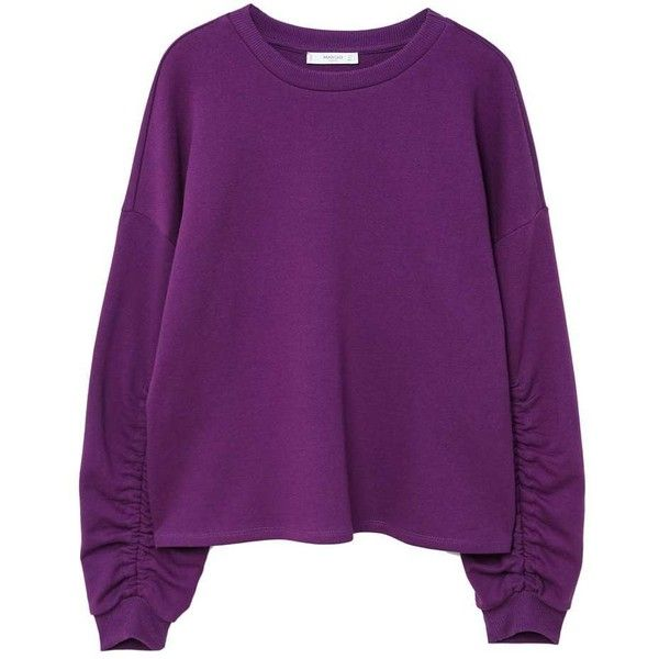 Ruched Sleeve Sweatshirt (517.215 IDR) ❤ liked on Polyvore featuring tops, hoodies, sweatshirts, oversized sweatshirt, ruched sleeve top, sleeve top, purple long sleeve top and purple sweatshirt