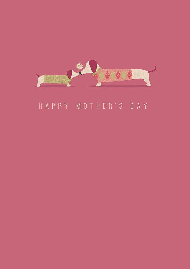 """""""I Love You"""" Dachshund Mother's Day Greeting Card"""