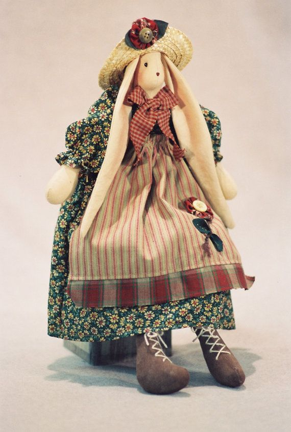 Cloth Doll Pattern- 16in Country Girl Bunny Epattern