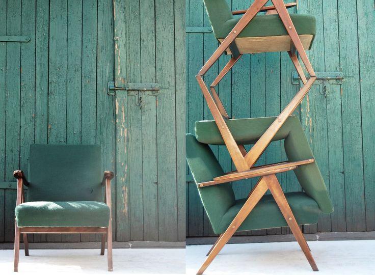 Fotel typ 0|310|Var.B, produkowany przez Głuchołaskie Fabryki Mebli.  Lata 60/70.