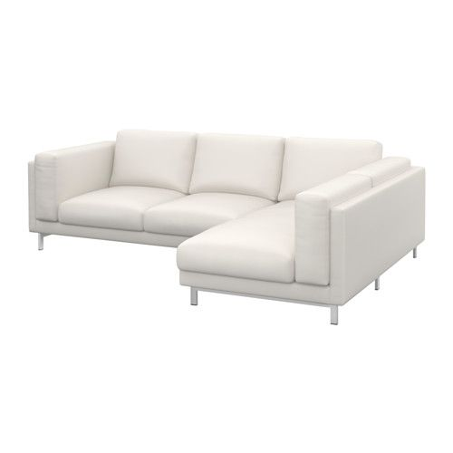 NOCKEBY Loveseat with chaise, right - right/Risane white, chrome plated - IKEA