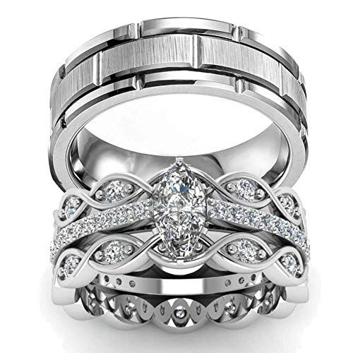 2Pc Antique Style Stainless Steel Cz Engagement Bridal Wedding Band Ring Set