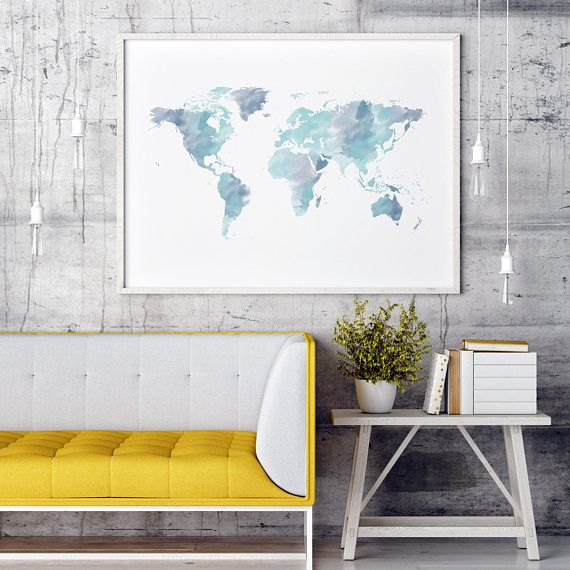 Bring the beauty of the whole world into your home! Modern watercolor in lighter and darker blue hues make this wall print the centerpiece of every room. For more home decor inspirations, special offers and unique art designs, please visit my shop. Decorating has never been so easy! YOUR BENEFITS • Modern, budget-friendly art for your home. • High quality print files (300 dpi) in many different sizes. • No waiting time, no shipping costs. • Fast and easy customization, color changes and size…