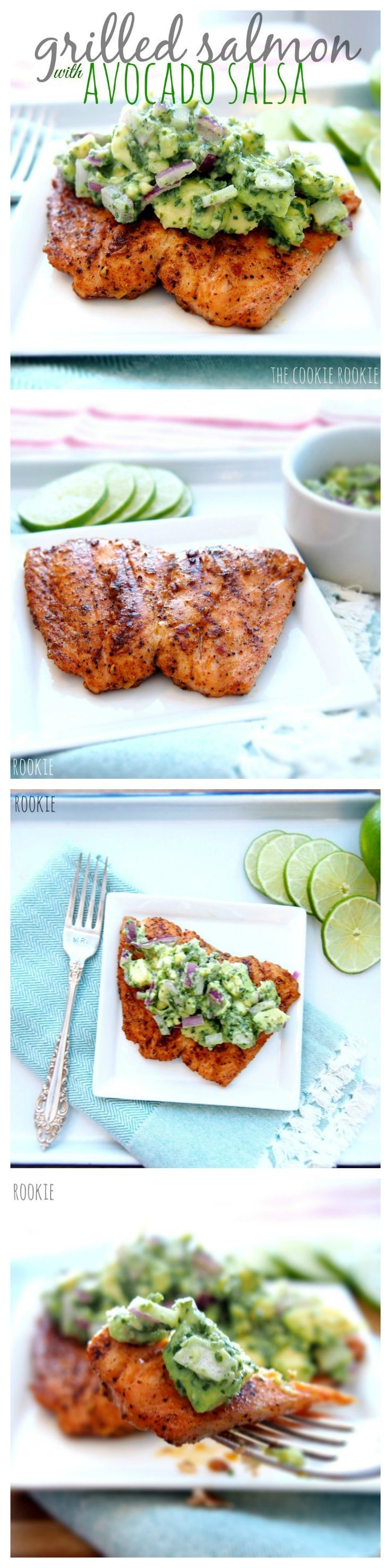 Grilled Salmon with Avocado Salsa. Delicious, healthy and easy. Perfect for the warmer weather! {The Cookie Rookie} #food #summer Foods Grilling Recipes #recipe