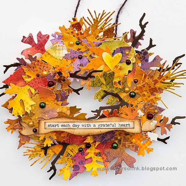 Layers of ink - Vibrant Leaves Wreath Tutorial by Anna-Karin with stamps by IndigoBlu. Made for the Simon Says Stamp Monday Challenge Blog, also with the Fall Foliage Sizzix die by Tim Holtz.