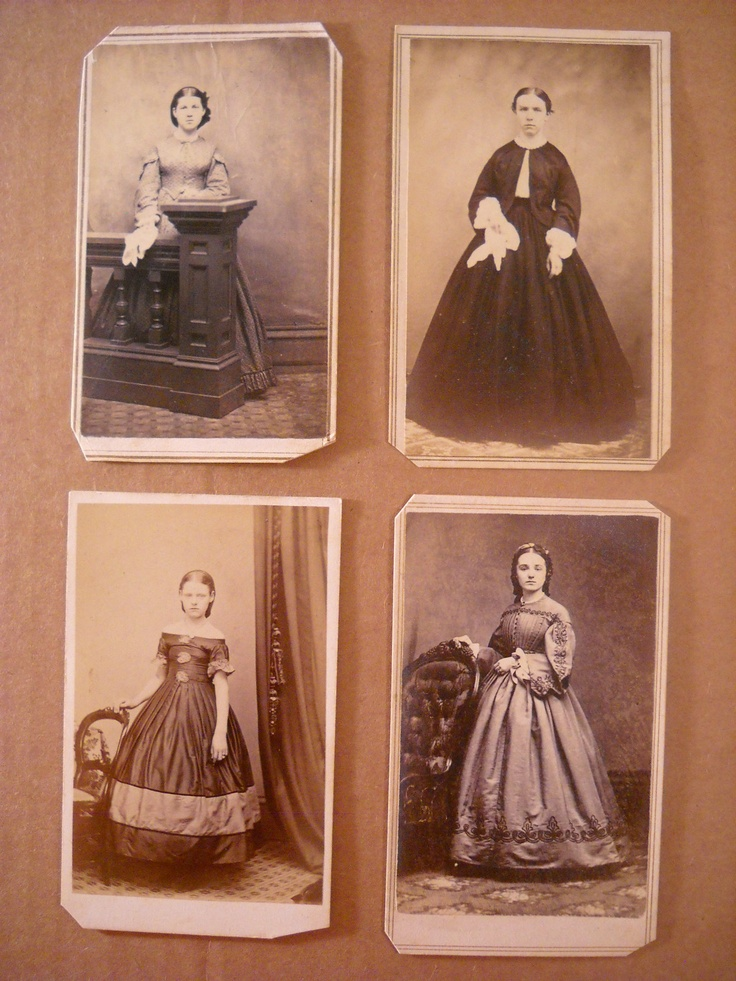 CDV's of four young women.  Bottom right has beautiful braid work.