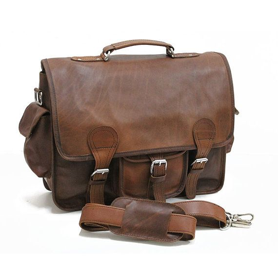Vintage leather briefcase 16 men's messenger bag by eylobags