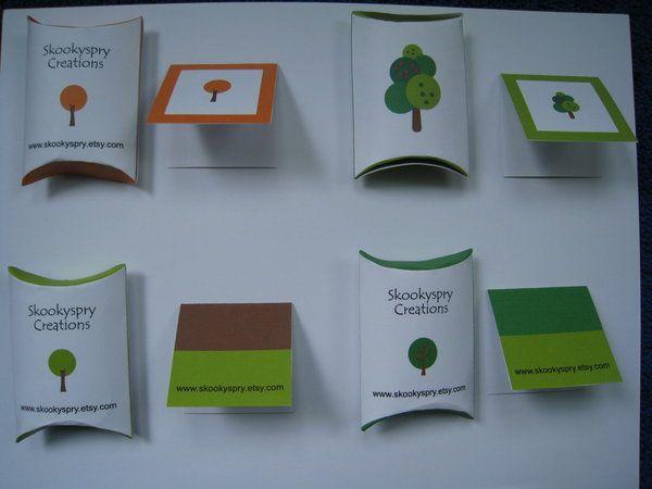 tree design, pillow box and mini card