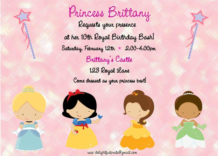 Disney Princess birthday invitationDIY you by delightfulprints