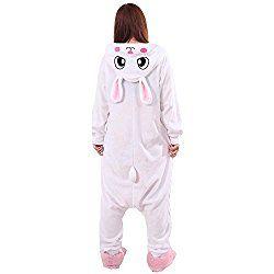 XMiniLife White Rabbit Unisex Adult Halloween Kigurumi Onesie Halloween Costume