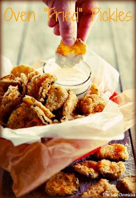 Oven fried pickles! Super healthy and SO delicious!! Making these this weekend!