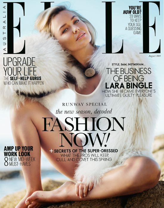Blonde bombshell Lara Bingle covers the August 2014 issue of Elle Australia.
