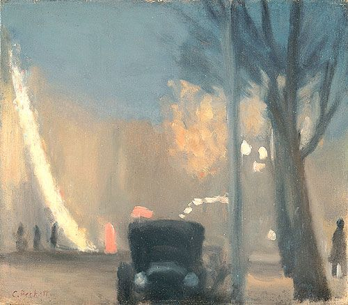 Clarice BECKETT (Australia)  1887–1935:  Collins Street, evening . 1931 (Collins Street is a major street in the City of Melbourne Australia)