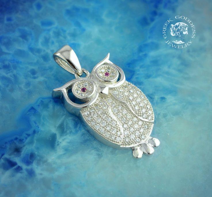 owl zircon silver pendant, owl pendant, silver owl, greek pendant, Athena…