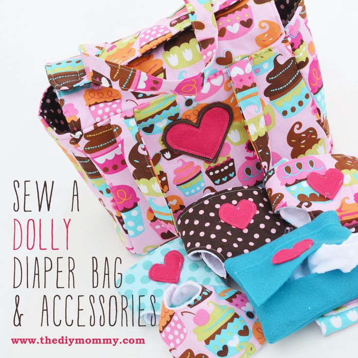 Sew a Deluxe Dolly Diaper Bag & Accessories (Cloth Diapers, Wipes Case, Wipes, Bib, Changemat) by The DIY Mommy