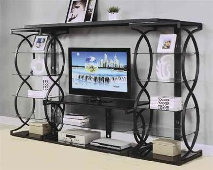 Milo Black Metal Glass Entertainment Center w/TV Stand