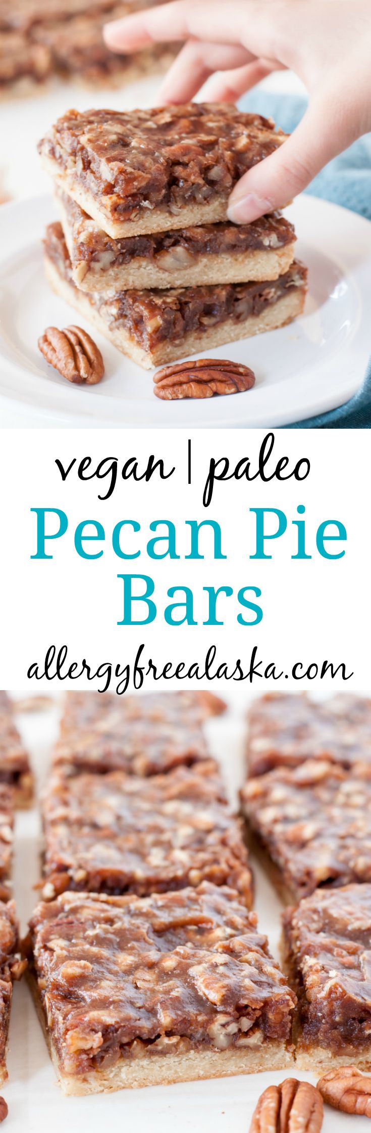 Decadent maple syrup and sweet dates combine to make a smooth and creamy filling for these Vegan Paleo Pecan Pie Bars. Everyone loves this recipe!