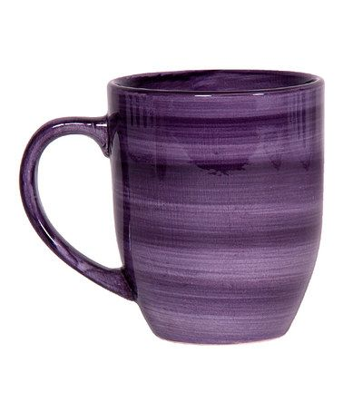 Take a look at this Purple Brush Stroke Mug - Set of Four by Home Essentials and Beyond on #zulily today! $12 !!