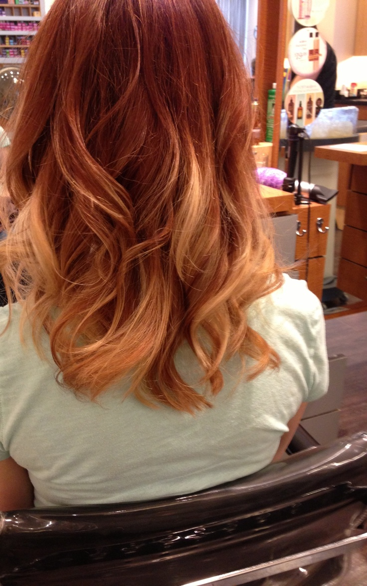 Ombré with copper red and blonde