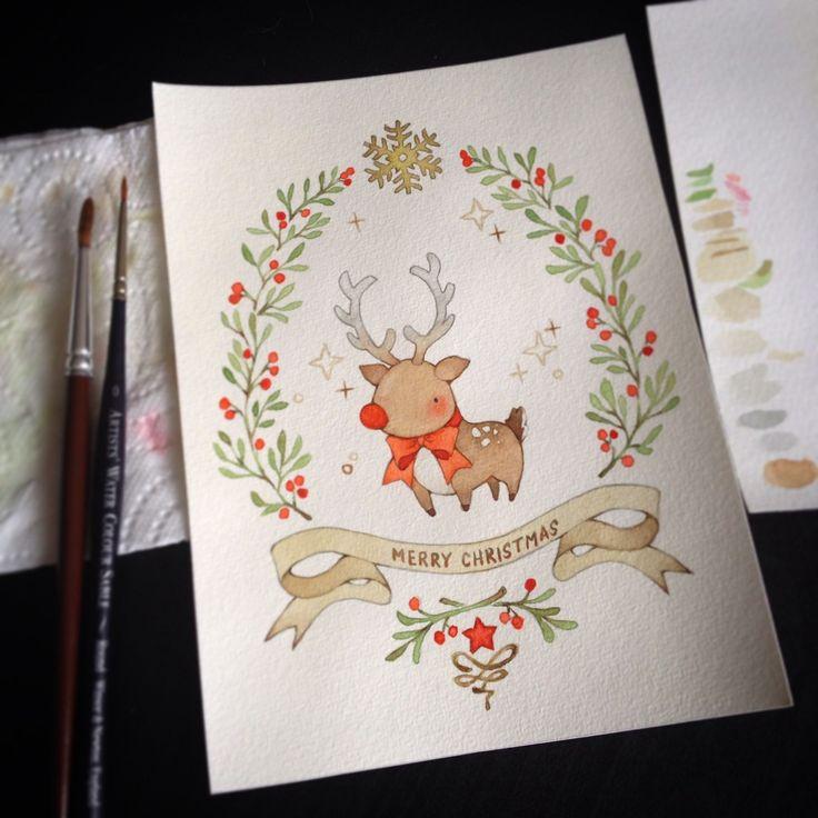 Нарисовать новогодние открытки своими руками 2019