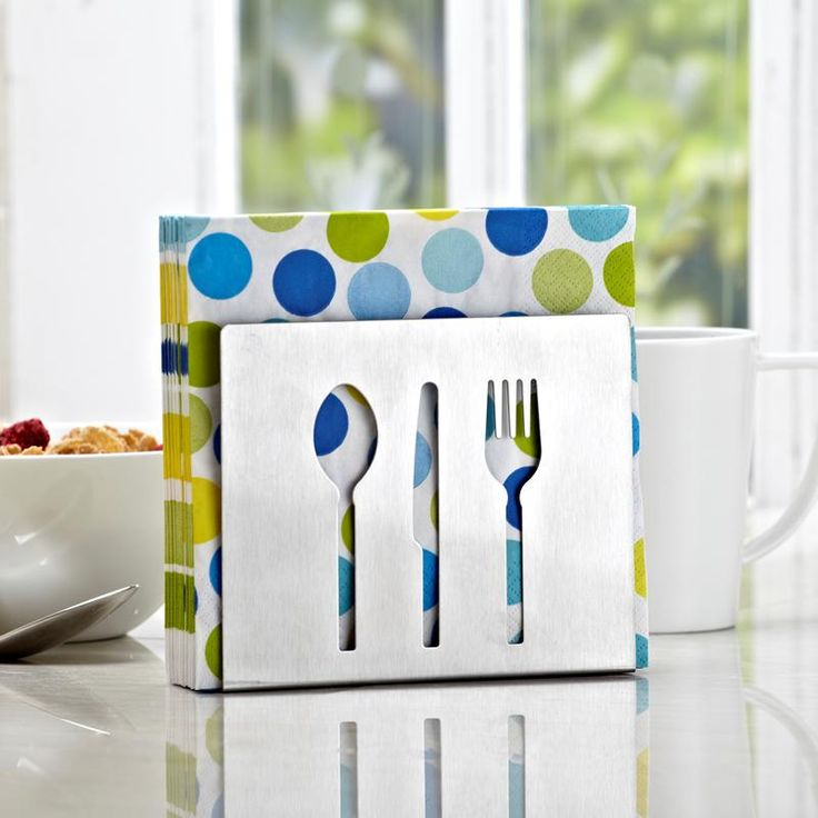 A one of kind cutlery-inspired napkin holder to add style to your dining table or kitchen.