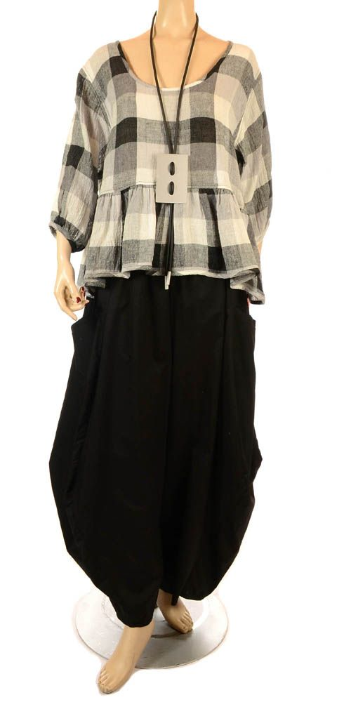 Ana Nonza New Season Funky Grey Check Linen Ruffle Top