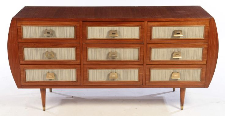 Lot: MID CENTURY MODERN CHEST OF DRAWERS 9 DRAWERS, Lot Number: 0024, Starting Bid: $1,100, Auctioneer: Kamelot Auctions, Auction: DESIGN | FRENCH | ITALIAN | AMERICAN, Date: February 25th, 2017 EST