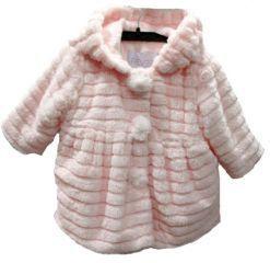 Abrigo de niña con capucha en pelo rosa haciendo capas - Abrigos, Parkas, Anoraks y Buzos para Bebé hasta los 4 Años - Mundo Kiriko