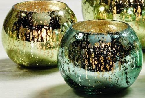 Set of 2 Mercury Glass Votive Candle Holders Green Blue Gold Votives 2.5x4 inch #MarketStreet