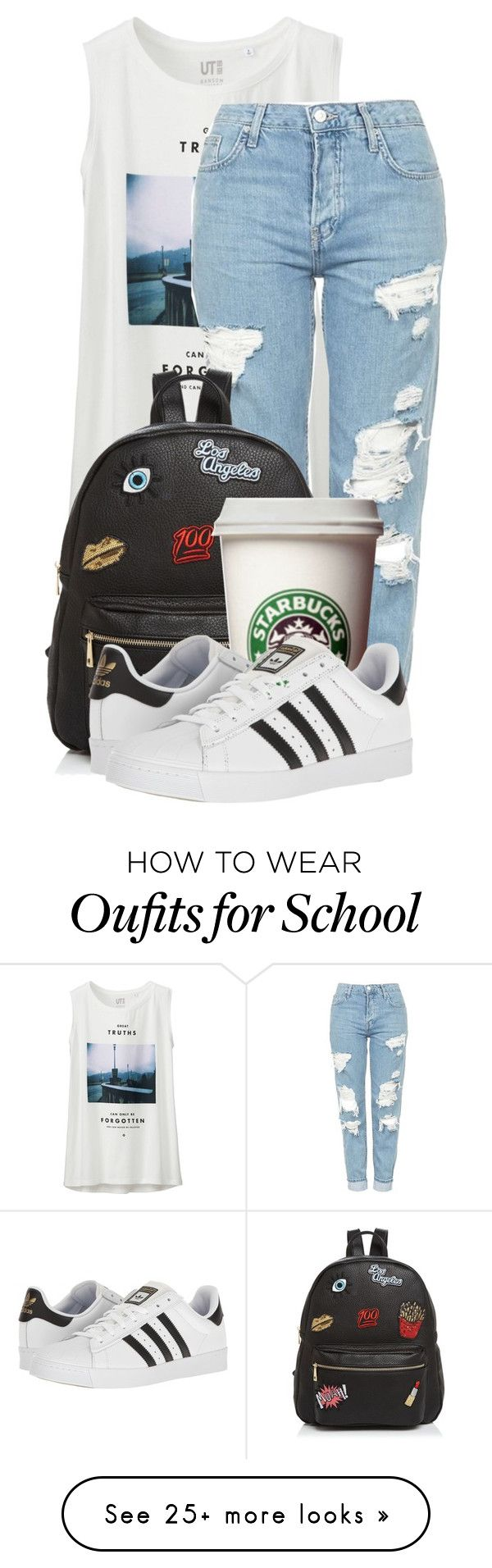 """Casual summer chic"" by kellyaguilera on Polyvore featuring Uniqlo, Topshop, Ollie & B, adidas and summertime"
