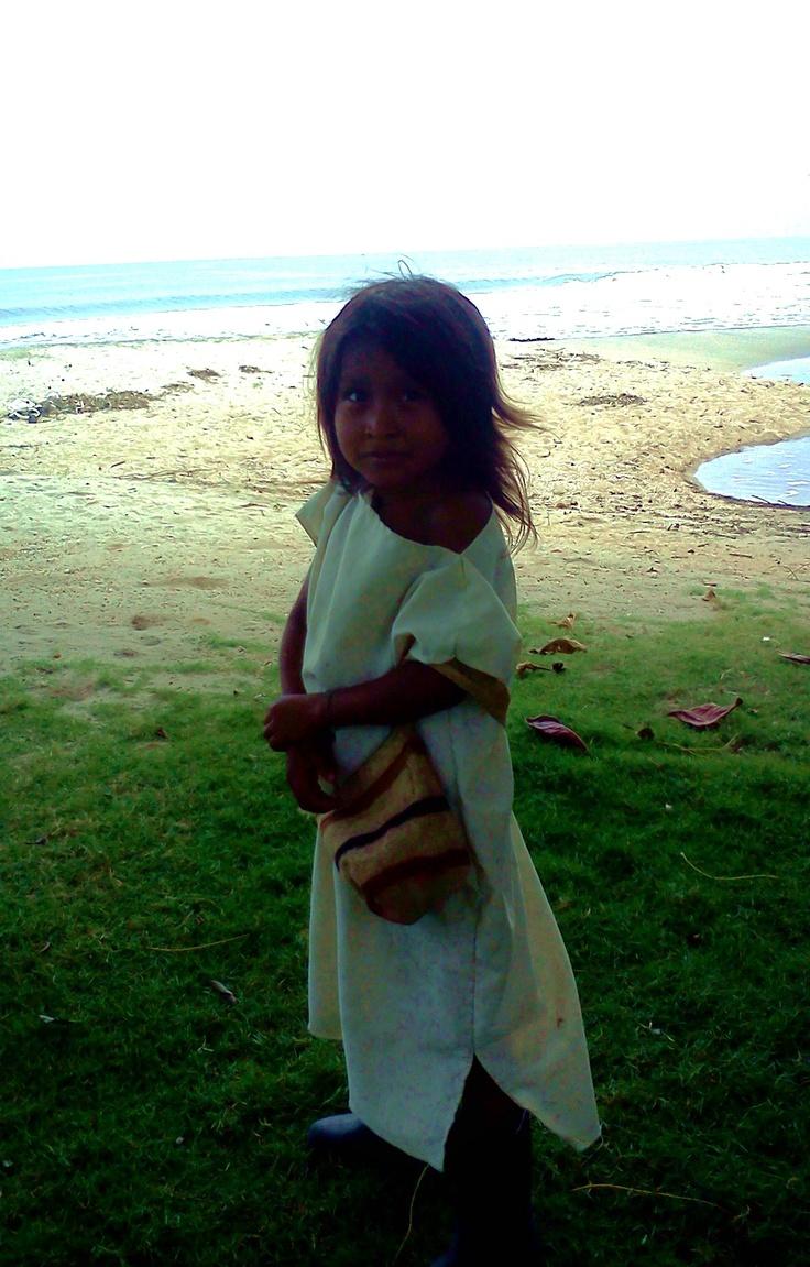 Kogui kid at beach of Palomino, la Guajira Colombia. www.uniquecolombia.com