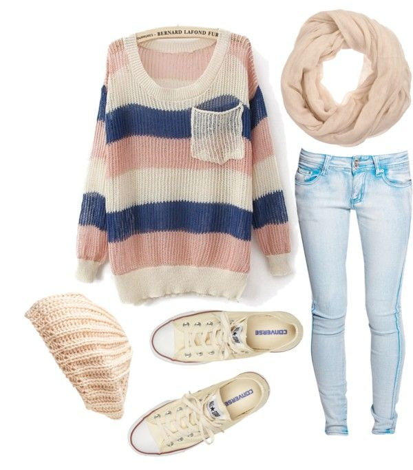 pastels. stripes :) & hat: Shoes, Big Sweaters, Teen Fashion, Style, Color, Cute Outfits, Over Sweaters, Fall Outfits, Winter Outfits