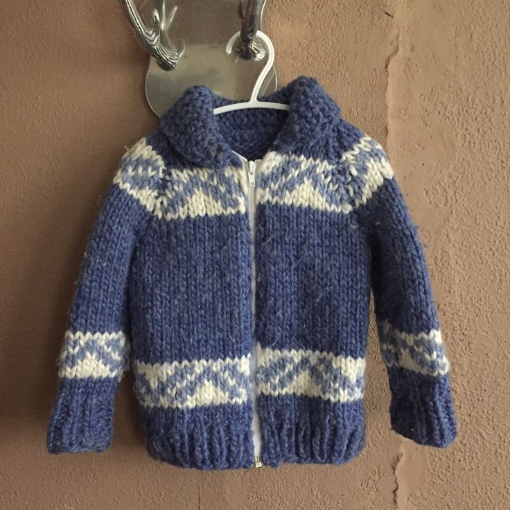 A personal favorite from my Etsy shop https://www.etsy.com/ca/listing/252212384/vintage-childs-blue-and-white-cowichan