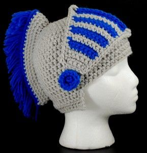 Trojan / knight crochet helmet hat....My college and high school aged sons would totally wear this!