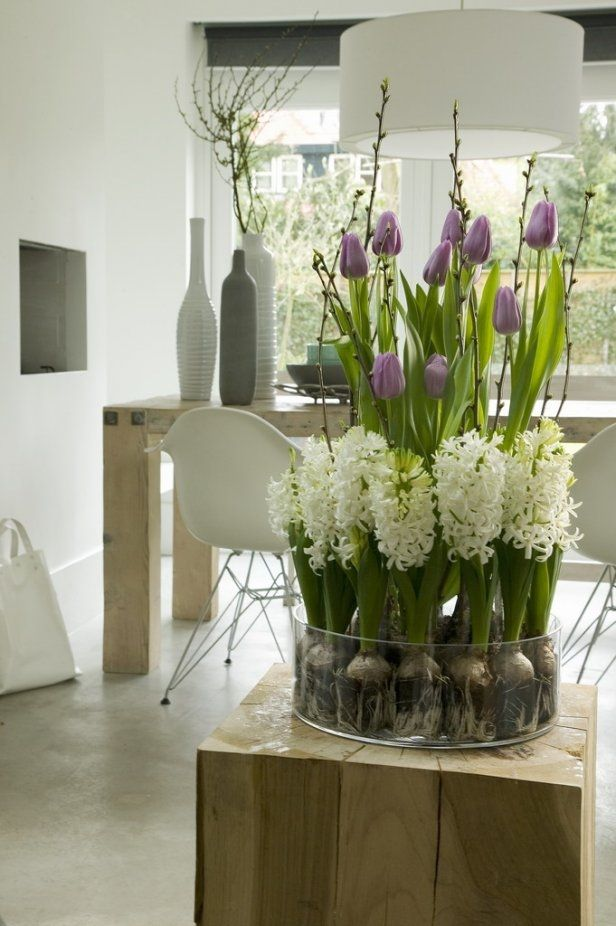 spring home decor white hyacinth purple tulips arrangement ...