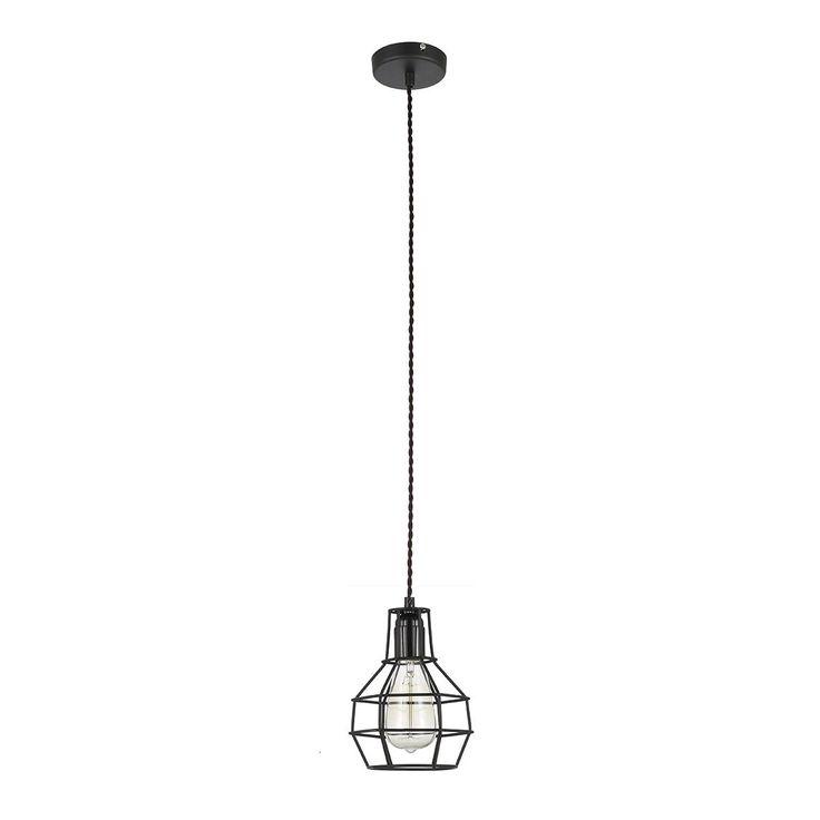 Lampa wisząca zwis Italux Constantin 1x60W E27 czarna #italux #lampa #lampawiszaca #italux #e27 #industrial