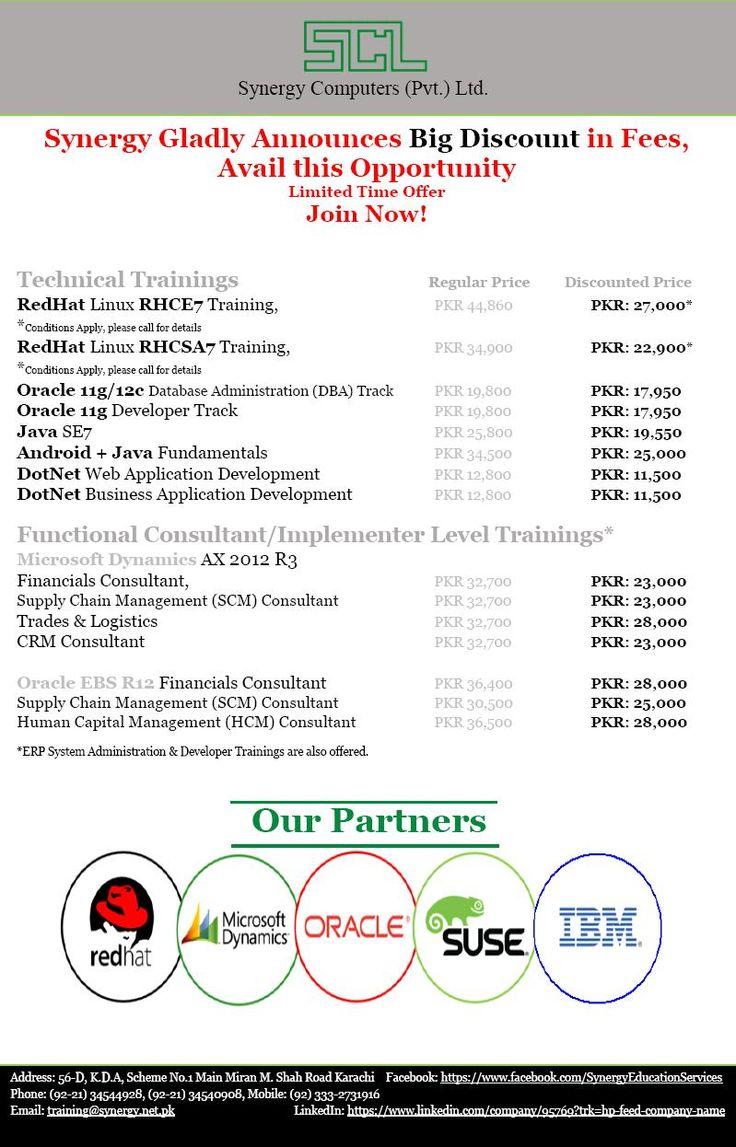 Red Hat Linux, Oracle DBA, 11g, 12c, Microsoft, IBM SuSe Linux, Solaris, Axapta, EBS, Dynamics, Cognos, Maximo, VMware, Websphere, DB2, AIX, Online & Classroom Training in Karachi, Islamabad, Lahore, Pakistan