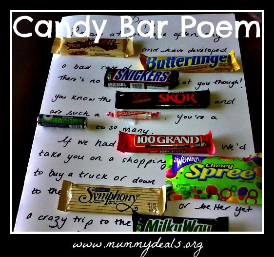 The main challenge is matching the desired sentiment with the recipient's favored goodie. Because some brand names are more pun-friendly than others, it always helps if the person isn't particularly picky about their chocolate. But in case they are, here's a list of clever candy bar sayings organized by brand.
