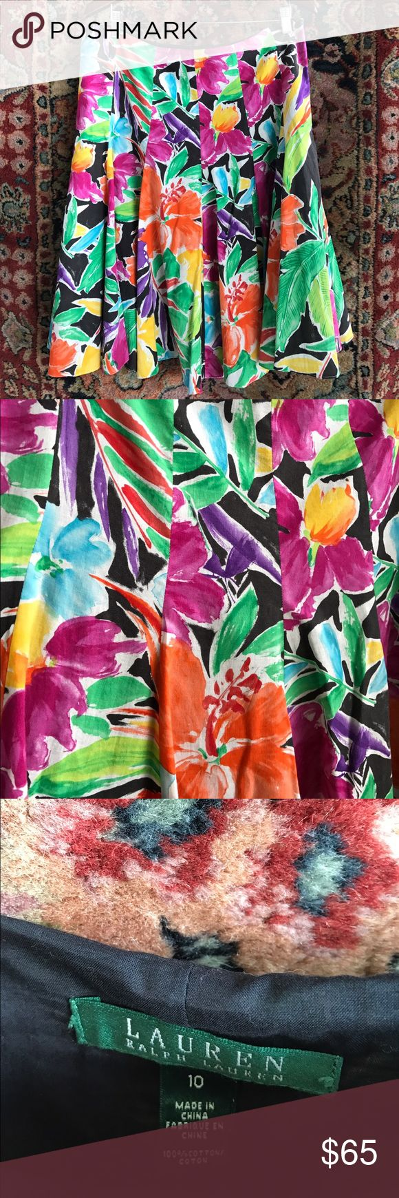 """LRL Floral Tropical Trumpet Skirt So fun and festive! A modern cut with a vintage textile feel. In excellent condition, fully lined with side zip closure. 17"""" waist and 24.5"""" L Lauren Ralph Lauren Skirts A-Line or Full"""